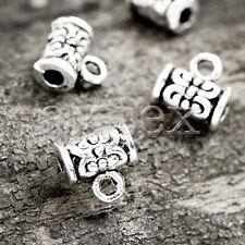 100pcs Tibetan Silver Slider Bails Connector Vintage Cylinder 7x4x4mm