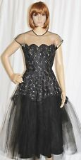 Vintage 1950s Dress Black Party Dress Lace Overlay Tulle Netting Taffeta Under S