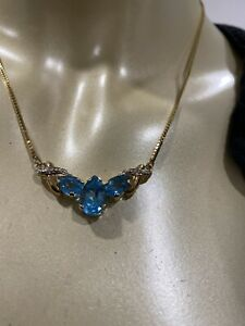 14k Necklace blue Topaz Diamond Yellow Gold Box Chain Marked Italy
