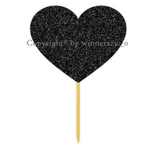 Sparkling Premium Double Sided Glitter HEART BLACK Cupcake Cake Wedding Topper