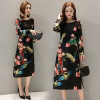 Retro Women Slim Floral Print Long Sleeve Cheongsam Split Dress Ethnic Style New