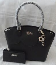 NWT GUESS SAFFIANO SCALLOPED CARRYALL SATCHEL BAG PURSE WITH MATCHING WALLET