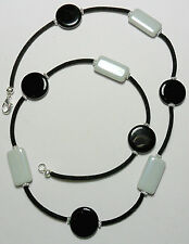 "26"" necklace, 20mm black + 25mm grey glass beads, velvet cord"