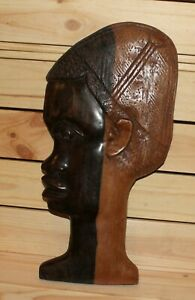Vintage African hand carving wood tribal wall hanging plaque boy figurine