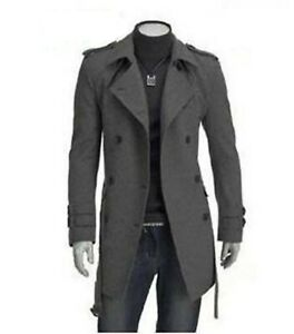 Men's Wool Blend Jacket Trench Coat Business Double Breasted Overcoat Slim Fit