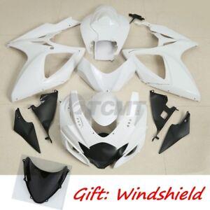 Unpainted White Injection Fairing Bodywork Kit For Suzuki GSXR600 750 2006 2007