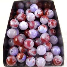 30Pcs 6mm round red & slate blue persian style jade spacer beads stone abd bd082