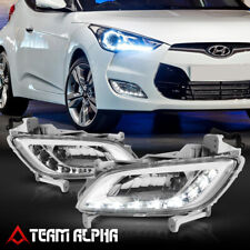 Fits 2012-2017 Hyundai Veloster Clear {LED DRL} Fog Light Lamp w/Switch+Harness