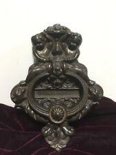 VTG. Cast Iron Figural Door Knocker Mail Slot lrg ornate art nouveau