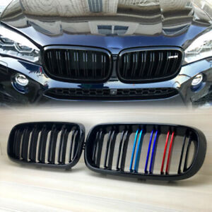 Gloss Black Front Hood Kidney Grille Grill For BMW F15 F16 X5 X6 2014-2018 PAIR