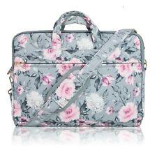 """TaylorHe 15"""" Canvas Laptop Shoulder Bag Carry Case Handles Strap Vintage Roses"""