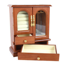 Large Vintage Wood Jewelry Jewellery Box Necklace Ring Armoire Case Gift