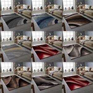 Modern Grey Rug Short Pile Waves Stripes Living Room Bedroom Floor Carpet Mat