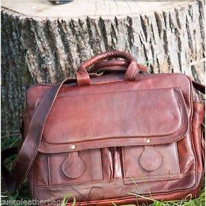 """15"""" Large brown Natural Leather messenger bag shoulder bag Men's Laptop Bag,"""