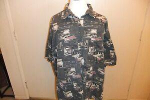 Kinghts Sportswear Hawaiian Short Sleeve Shirt Size 4XLT Gray 100% Cotton