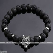 Vintage Men Women Black Lava Rock Stone Silver Wolf Bead Charm Bangle Bracelet