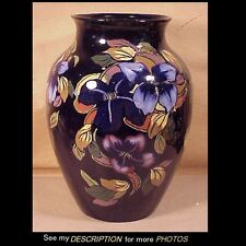 "Antique 12"" Royal Stanley Ware Art Pottery Vase Jacobean Pattern Moorcroft Style"