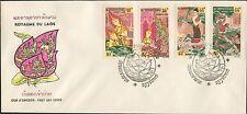 LAOS 1er Jour, N°101/104 Pravet Sandonne,Bouddha ,1964, Buddha SC #96-99 on FDC