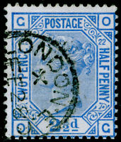SG157, 2½d blue PLATE 22, FINE USED, CDS. Cat £40. OG