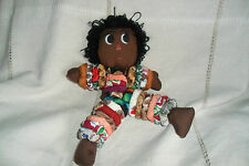 A NICE HAND MADE BROWN DOLL SOFT COLOURFUL  RINGS ON STRETCH STRING , 29 cm high