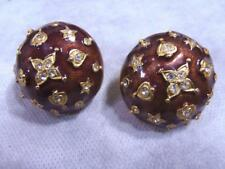 Vintage Signed CRAFT Rhinestone Enamel Gold Tone Clip Earrings Runway Couture