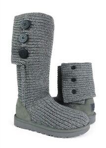 UGG Australia Classic Cardy Grey Knit Boots Womens Size 8 *NIB*
