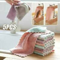 5PCS Super Absorbent Microfiber Kitchen Dish Cloth Towel Household Cleaning