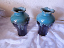 A Pair of Vintage Drip Glaze Pottery Vases ~Simply Beautiful~ Free Shipping~