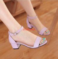 Summer New Womens Block Heel Open Toe Ankle Strap Pumps Court Sandal Shoes Size