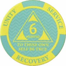 Poker Chip Style Sobriety Chips - Newcomer Coins - 6 Months Yellow