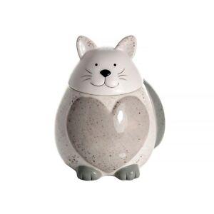 Cookie Jar Biscuit Barrel White Large Ceramic Kitchen Storage Cat Lover Gift