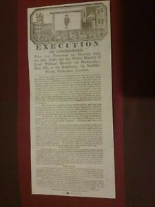 VICTORIAN POSTER , EXECUTION OF COURVOISIER 1840 HANGING , HISTORY SOUVENIR