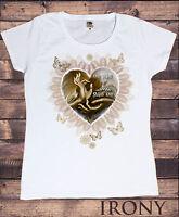 Womens White Shirt,Om Shanti, Shanti Om Zen Hands Love Heart  Buddha Print C31..