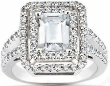 1.75 ct, 1 ct Emerald cut w/ Round DIAMOND Halo Engagement wedding 14k Gold Ring