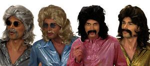 Mens 70s Wig Anchorman Ron Burgundy Porn Star Playboy Stag Moustache Cop Fancy