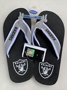 Oakland Raiders NFL Football Men Med 8-9 Logo Flip Flops Sandals #319