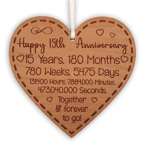 15th Anniversary Gift for Husband Wife Ideal Wedding Heart Hanging Keepsake