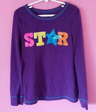 Girls CHILDREN'S PLACE Purple Thermal Shirt w/ Star Graphic SIZE L 10-12 - NICE!