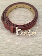 D&G £150.00 Women's brown snakeskin skinny belt with diamante logo, small