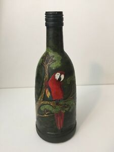 """Linarte 2004 Original Oil Painting Parrots on Glass Bottle, Signed, 9 7/8"""" Tall"""