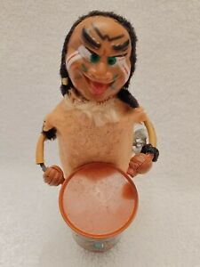 Vtg Marx Tin Litho Nutty Mad Indian Drummer Wind Up Toy Works