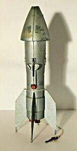 Vtg. Berzac Creation Silver Rocket Mechanical Coin Bank Astro Mfg. + Key