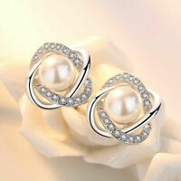 925 Silver Plated Crystal Pearl Ear Stud Earrings Women Wedding Jewelry Gift