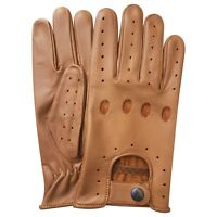 Retro style quality soft leather men's driving gloves unlined chauffeur 502 tan