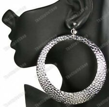 "4"" CLIP ON huge HAMMERED HOOP EARRINGS silver BIG 9cm HOOPS giant CLIPS retro"