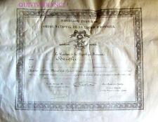 DIPLOME LEGION D'HONNEUR  1905 1° MAITRE MOUSQUETERIE