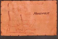 c1906 I Am Detained in Minneapolis Minnesota comic leather postcard