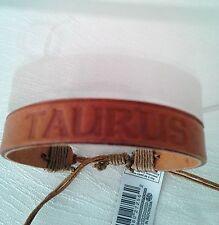 Bracelet Zodiac (Taurus) Leather Adjustable Rust Unisex No Stone New with Tags