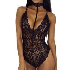 Women Sheer Lace V-Neck Halter Sleepwear Teddy Dress Lingerie G-string Nightwear