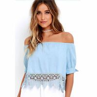 Womens Summer Casual Off the Shoulder Shirt Ladies Short Sleeve Crop Tops Blouse